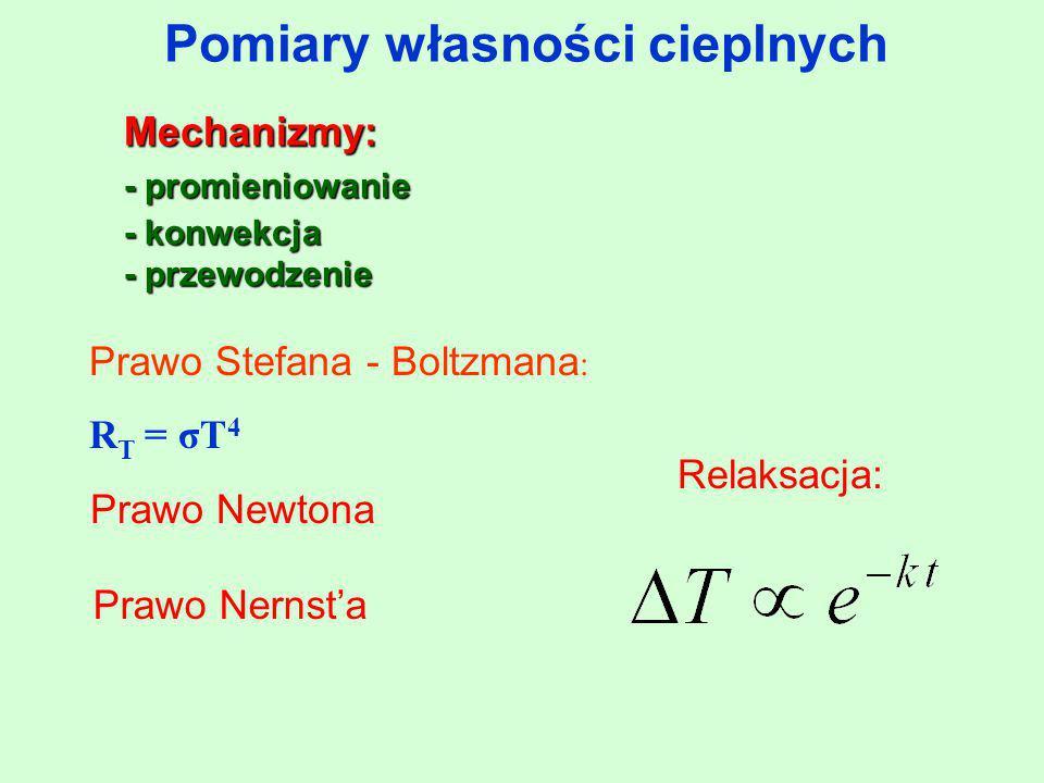 Pomiary własności cieplnych Mechanizmy: - promieniowanie - konwekcja - przewodzenie Prawo Stefana - Boltzmana : R T = σT 4 Prawo Newtona Prawo Nernst'