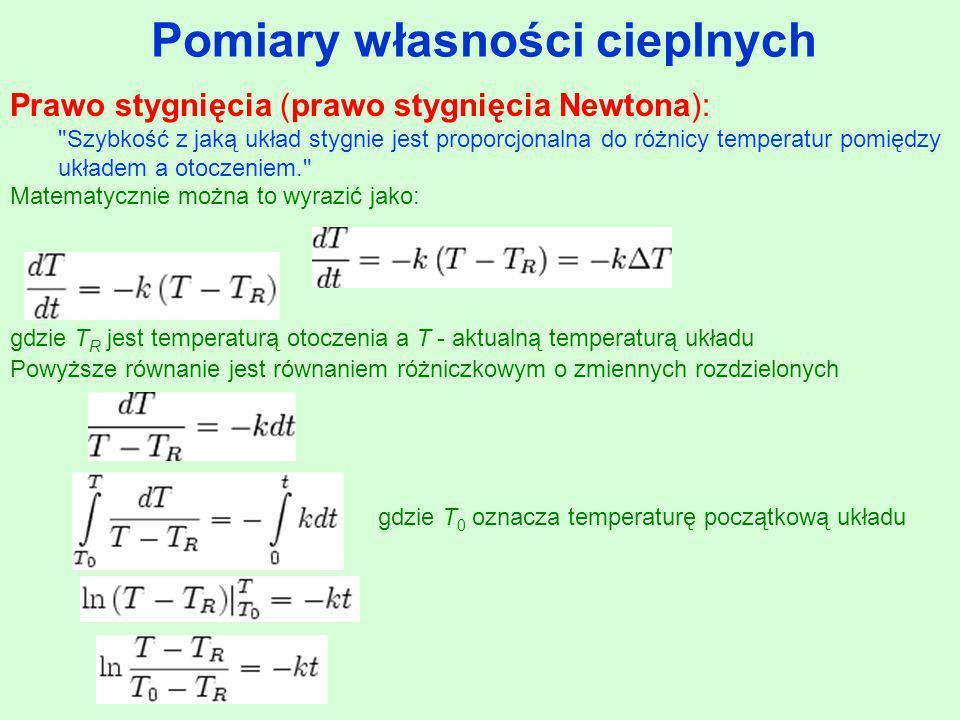 Pomiary własności cieplnych gdzie T R jest temperaturą otoczenia a T - aktualną temperaturą układu Powyższe równanie jest równaniem różniczkowym o zmi