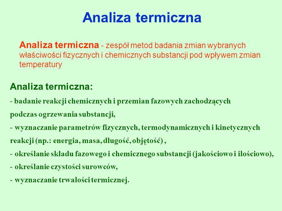 Analiza termiczna Analiza termiczna - zespół metod badania zmian wybranych właściwości fizycznych i chemicznych substancji pod wpływem zmian temperatu