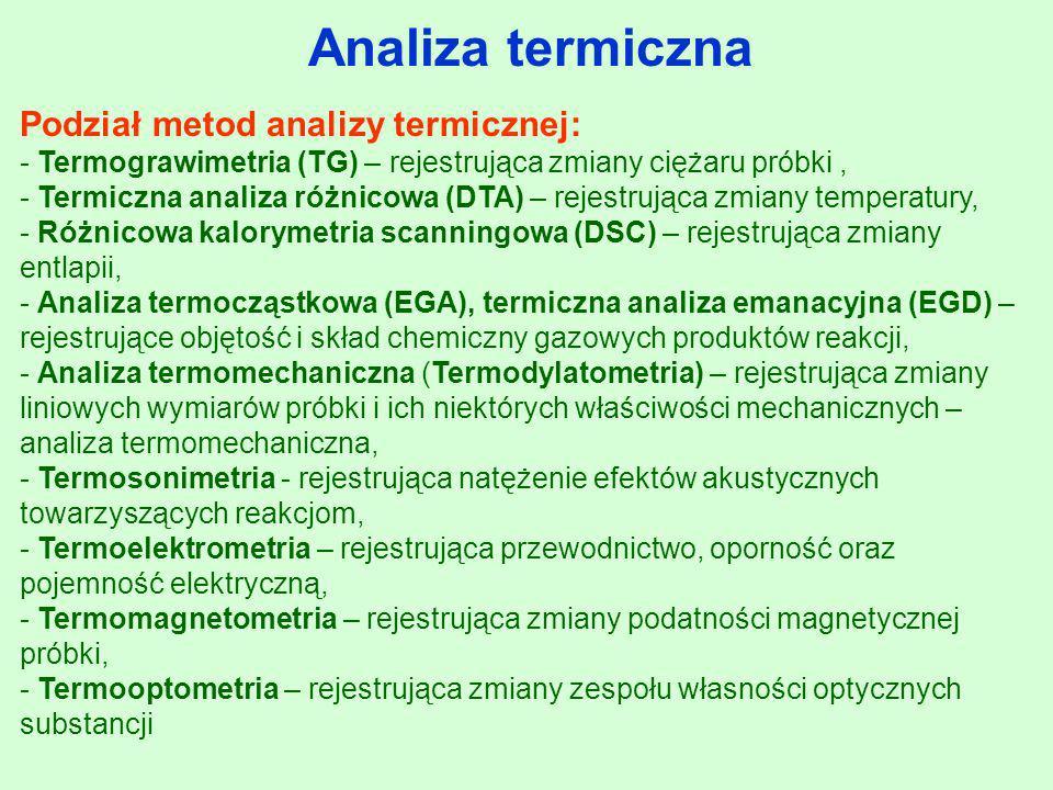 Analiza termiczna Podział metod analizy termicznej: - Termograwimetria (TG) – rejestrująca zmiany ciężaru próbki, - Termiczna analiza różnicowa (DTA)