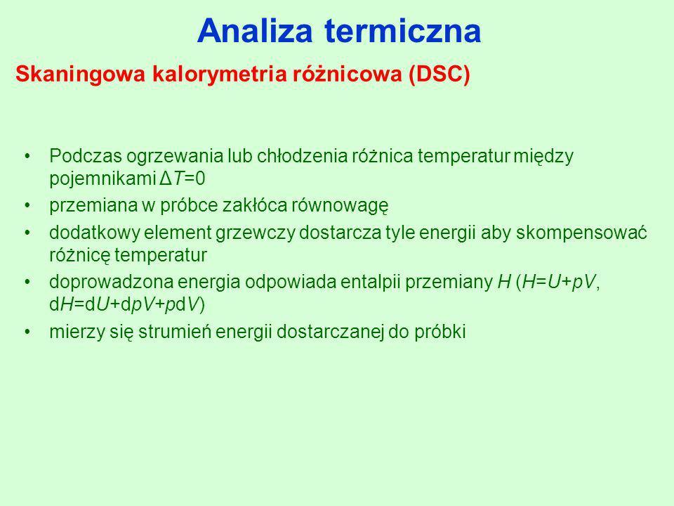 Analiza termiczna Skaningowa kalorymetria różnicowa (DSC) Podczas ogrzewania lub chłodzenia różnica temperatur między pojemnikami ΔT=0 przemiana w pró