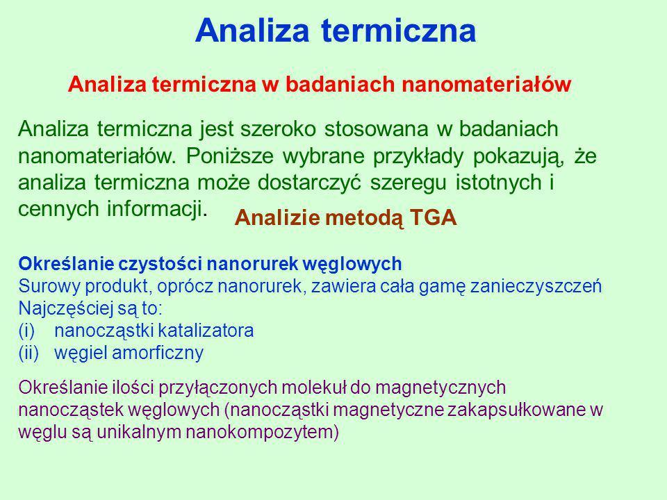Analiza termiczna w badaniach nanomateriałów Analiza termiczna Analiza termiczna jest szeroko stosowana w badaniach nanomateriałów. Poniższe wybrane p