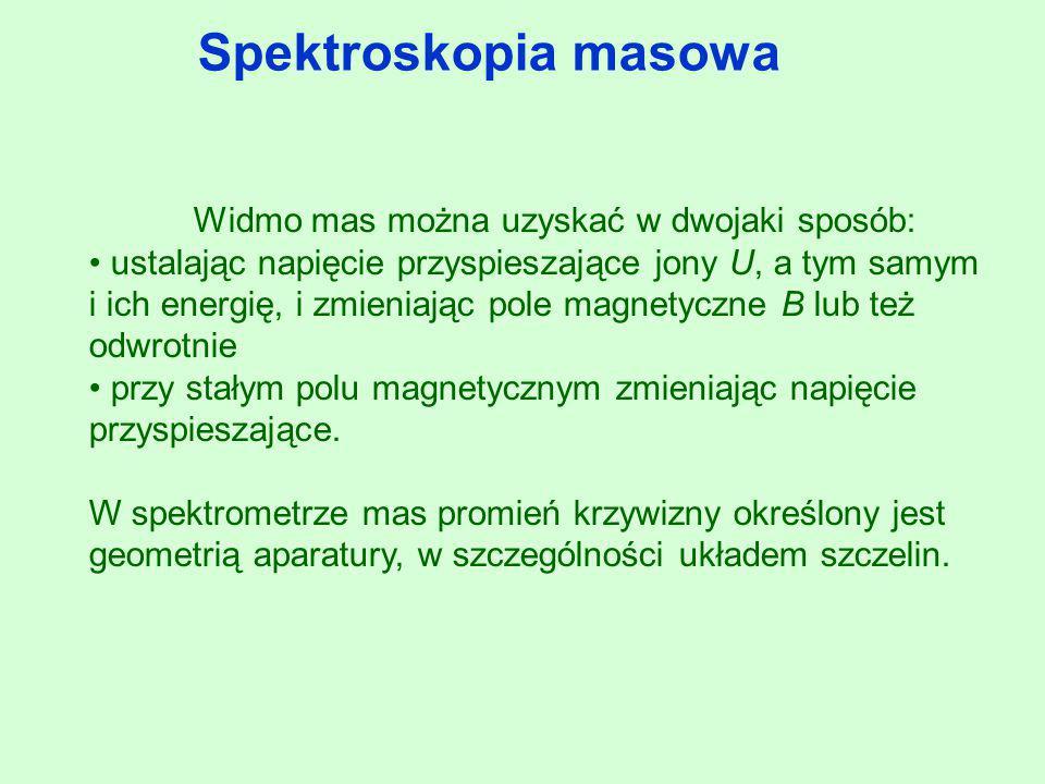 Spektroskopia masowa Widmo mas można uzyskać w dwojaki sposób: ustalając napięcie przyspieszające jony U, a tym samym i ich energię, i zmieniając pole
