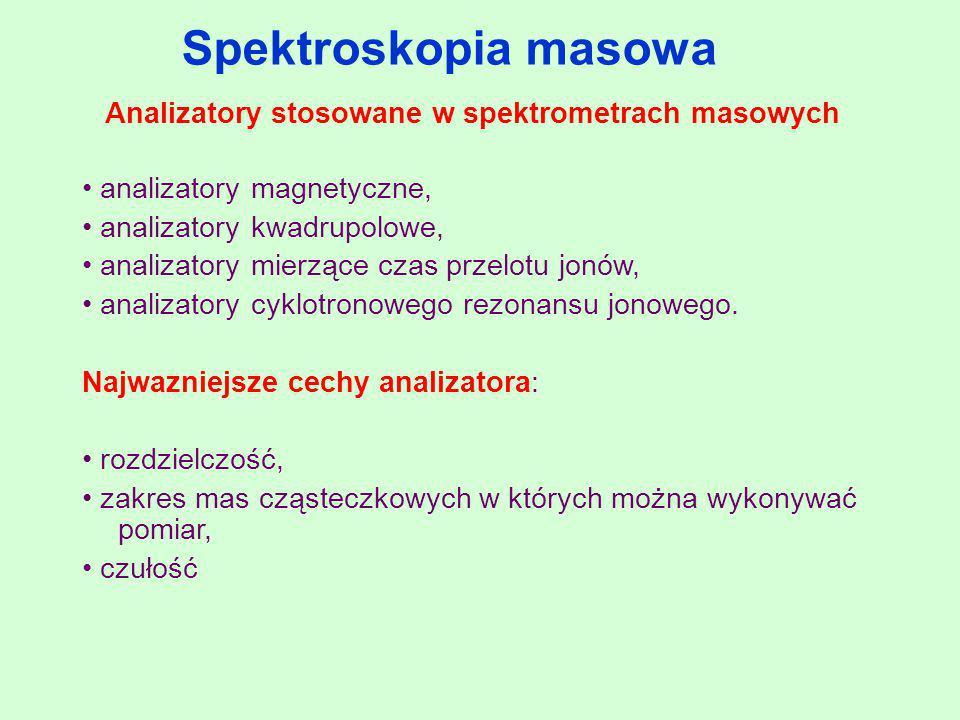 Spektroskopia masowa Analizatory stosowane w spektrometrach masowych analizatory magnetyczne, analizatory kwadrupolowe, analizatory mierzące czas prze