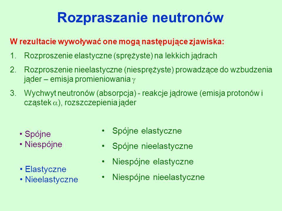 W rezultacie wywoływać one mogą następujące zjawiska: 1.Rozproszenie elastyczne (sprężyste) na lekkich jądrach 2.Rozproszenie nieelastyczne (niespręży