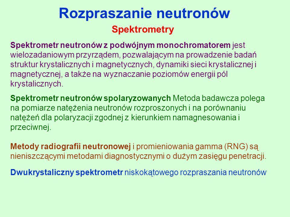 Rozpraszanie neutronów Spektrometr neutronów z podwójnym monochromatorem jest wielozadaniowym przyrządem, pozwalającym na prowadzenie badań struktur k