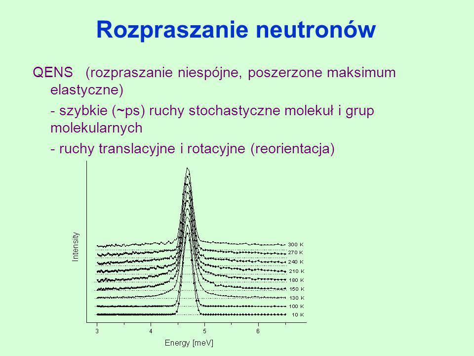 Rozpraszanie neutronów QENS (rozpraszanie niespójne, poszerzone maksimum elastyczne) - szybkie (~ps) ruchy stochastyczne molekuł i grup molekularnych
