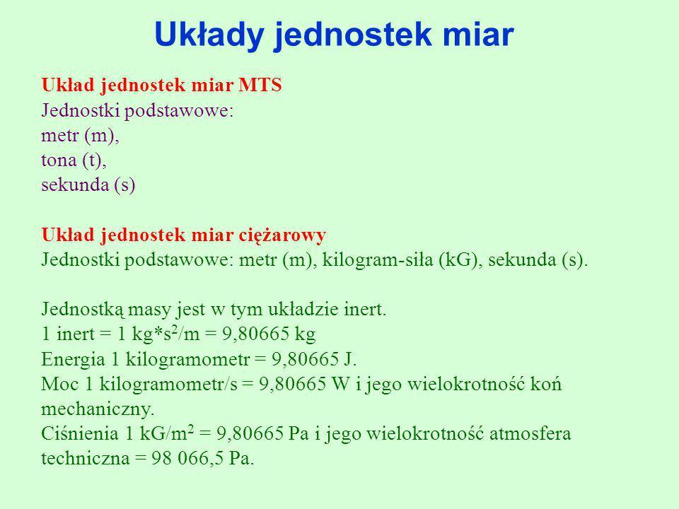 Układy jednostek miar Układ jednostek miar MTS Jednostki podstawowe: metr (m), tona (t), sekunda (s) Układ jednostek miar ciężarowy Jednostki podstawo
