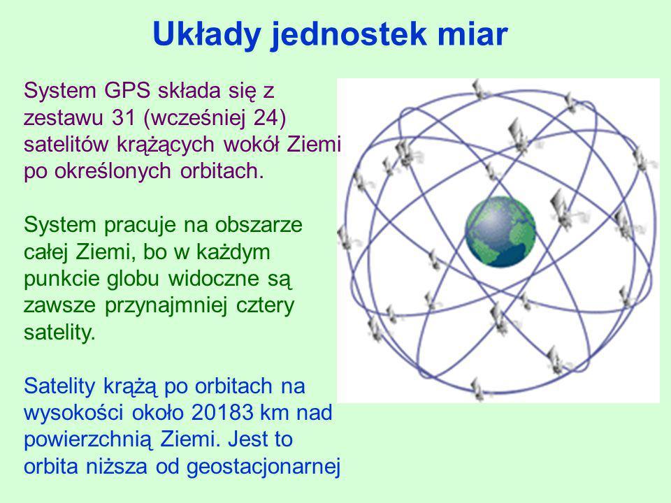 Układy jednostek miar System GPS składa się z zestawu 31 (wcześniej 24) satelitów krążących wokół Ziemi po określonych orbitach. System pracuje na obs