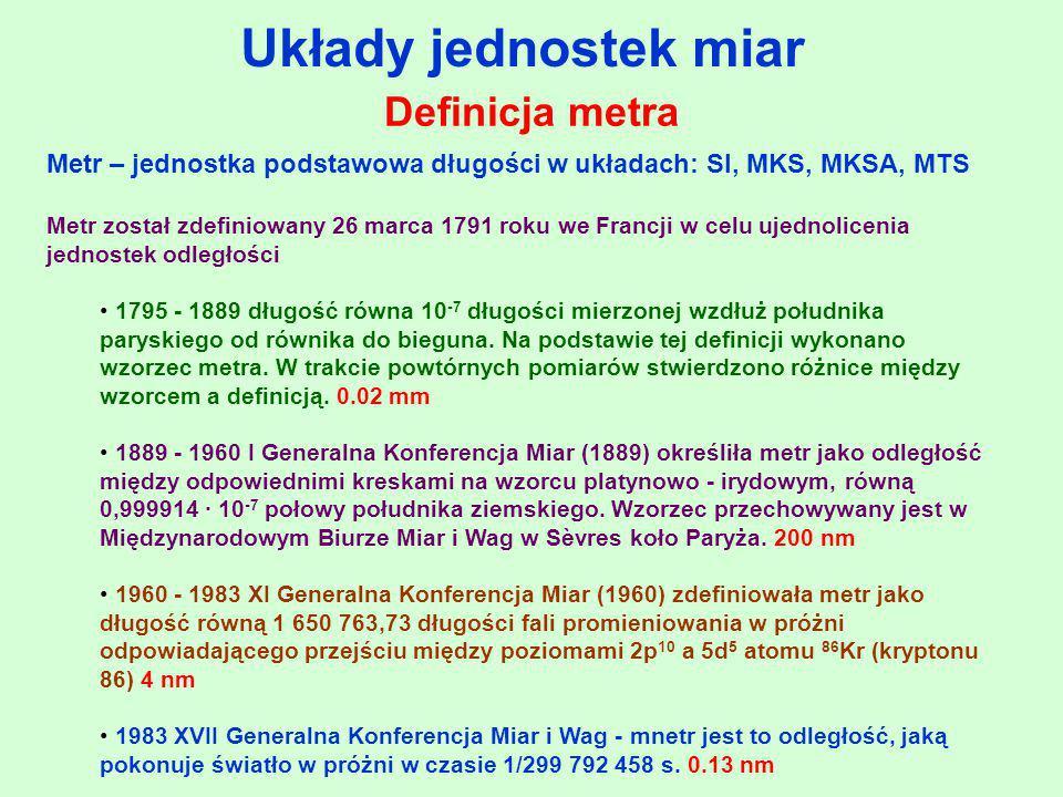 Układy jednostek miar Definicja metra Metr – jednostka podstawowa długości w układach: SI, MKS, MKSA, MTS Metr został zdefiniowany 26 marca 1791 roku