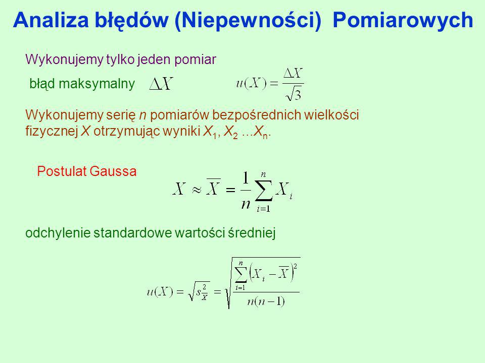 Analiza błędów (Niepewności) Pomiarowych Wykonujemy serię n pomiarów bezpośrednich wielkości fizycznej X otrzymując wyniki X 1, X 2...X n. odchylenie