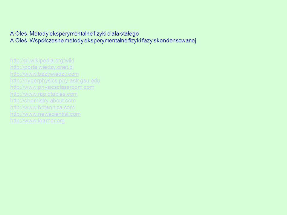 A Oleś, Metody eksperymentalne fizyki ciała stałego A Oleś, Współczesne metody eksperymentalne fizyki fazy skondensowanej http://pl.wikipedia.org/wiki