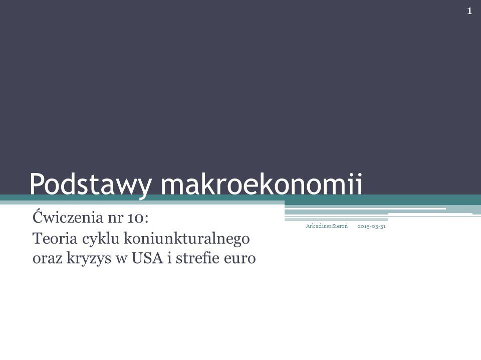 Podstawy makroekonomii Ćwiczenia nr 10: Teoria cyklu koniunkturalnego oraz kryzys w USA i strefie euro 2015-03-31 1 Arkadiusz Sieroń