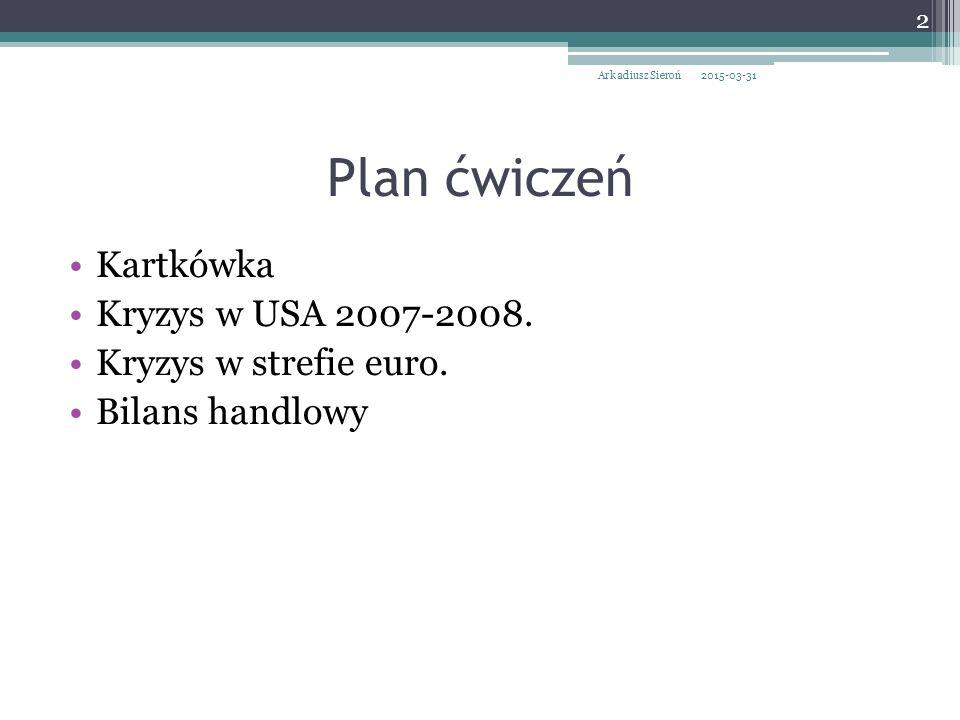 Plan ćwiczeń Kartkówka Kryzys w USA 2007-2008. Kryzys w strefie euro.