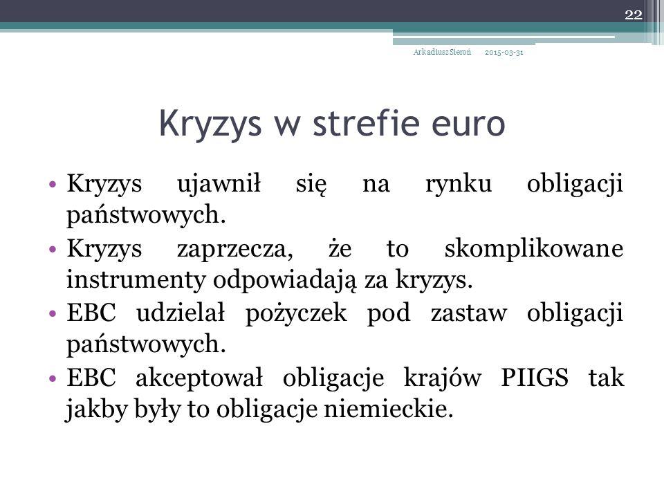Kryzys w strefie euro Kryzys ujawnił się na rynku obligacji państwowych.