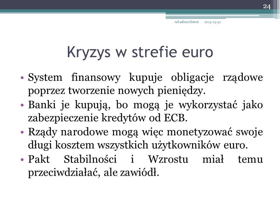Kryzys w strefie euro System finansowy kupuje obligacje rządowe poprzez tworzenie nowych pieniędzy.