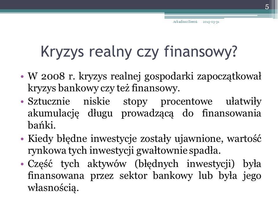 Kryzys realny czy finansowy. W 2008 r.