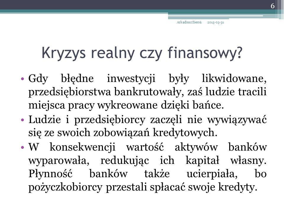Kryzys realny czy finansowy.