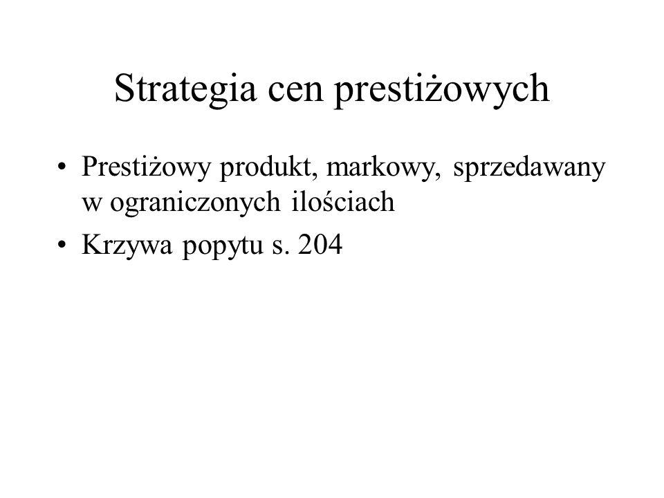 Strategia cen prestiżowych Prestiżowy produkt, markowy, sprzedawany w ograniczonych ilościach Krzywa popytu s. 204