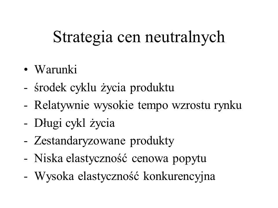 Strategia cen neutralnych Warunki -środek cyklu życia produktu -Relatywnie wysokie tempo wzrostu rynku -Długi cykl życia -Zestandaryzowane produkty -N