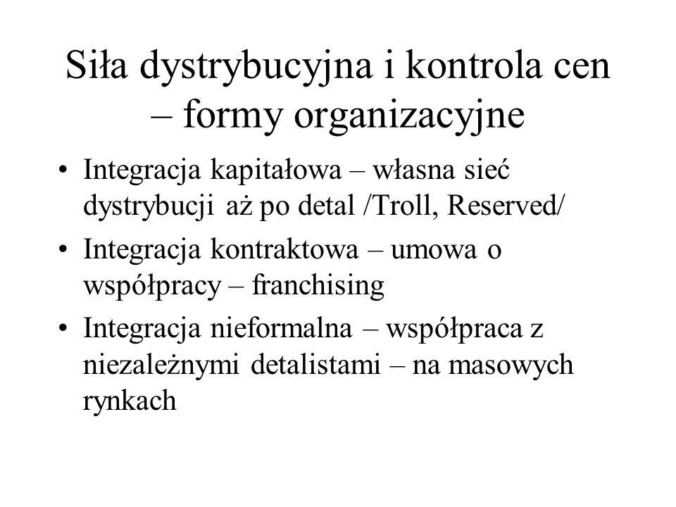 Siła dystrybucyjna i kontrola cen – formy organizacyjne Integracja kapitałowa – własna sieć dystrybucji aż po detal /Troll, Reserved/ Integracja kontr