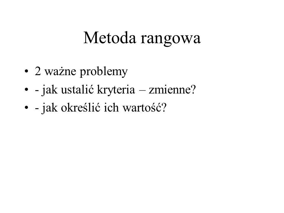 Metoda rangowa 2 ważne problemy - jak ustalić kryteria – zmienne? - jak określić ich wartość?