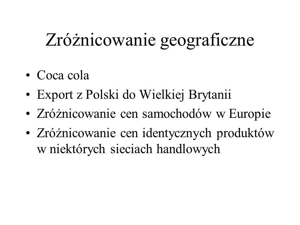 Zróżnicowanie geograficzne Coca cola Export z Polski do Wielkiej Brytanii Zróżnicowanie cen samochodów w Europie Zróżnicowanie cen identycznych produk