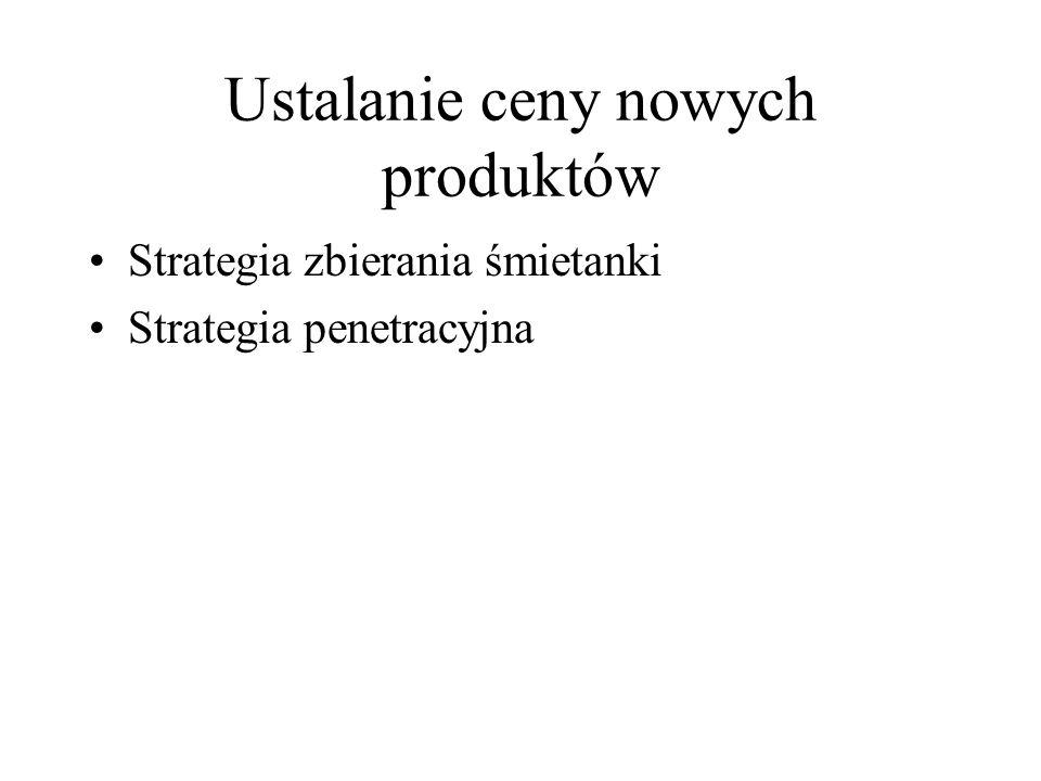 Ustalanie ceny nowych produktów Strategia zbierania śmietanki Strategia penetracyjna