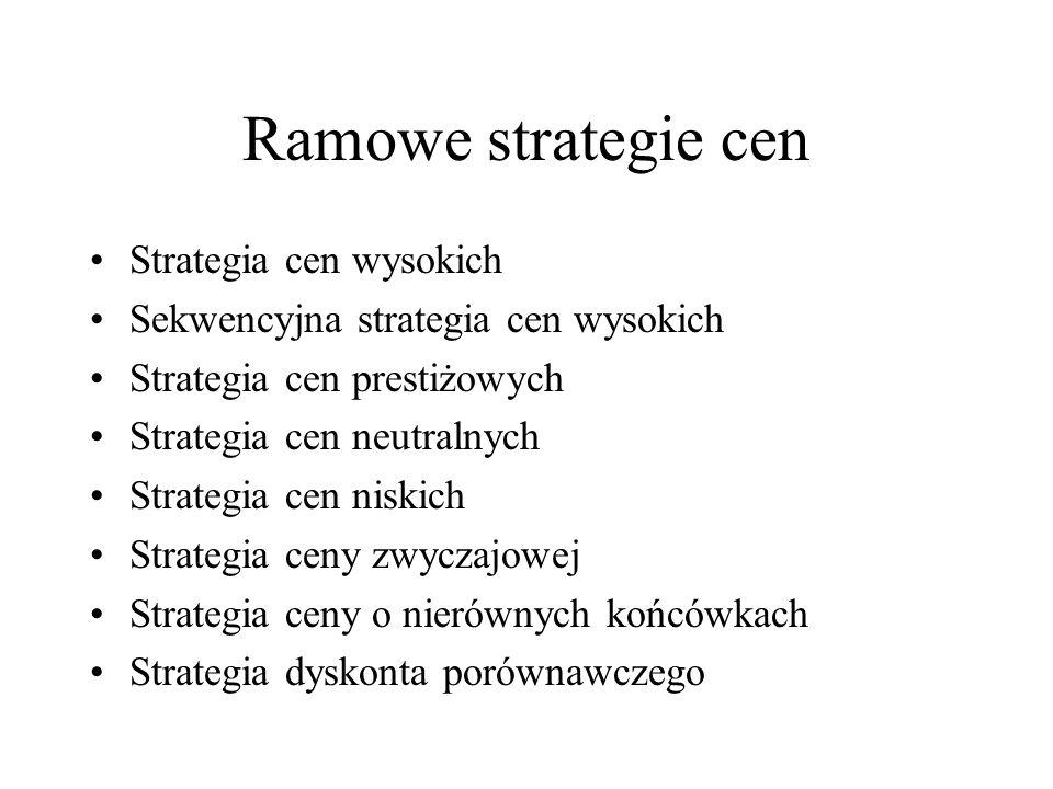 Ramowe strategie cen Strategia cen wysokich Sekwencyjna strategia cen wysokich Strategia cen prestiżowych Strategia cen neutralnych Strategia cen nisk