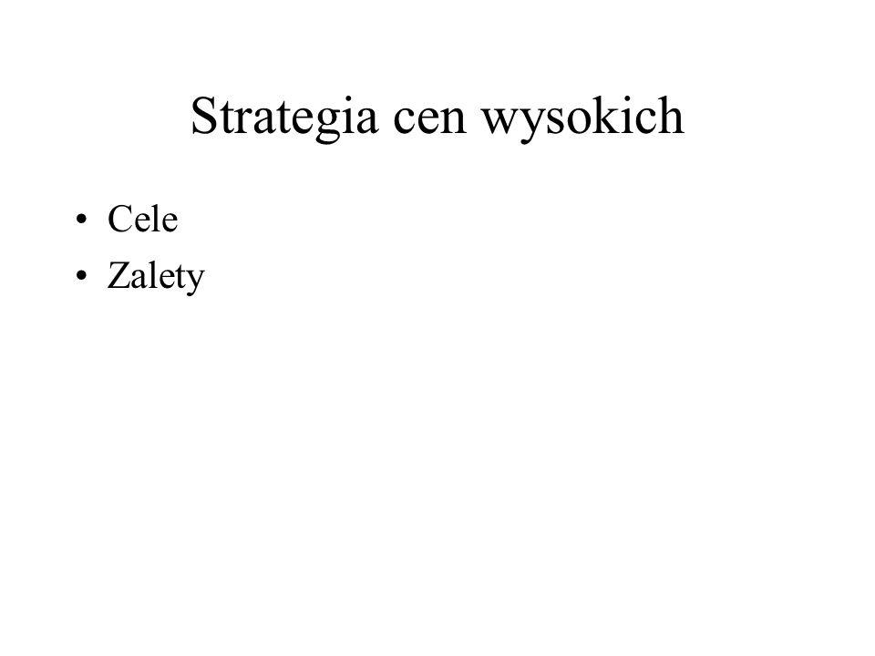 Strategia cen wysokich Cele Zalety