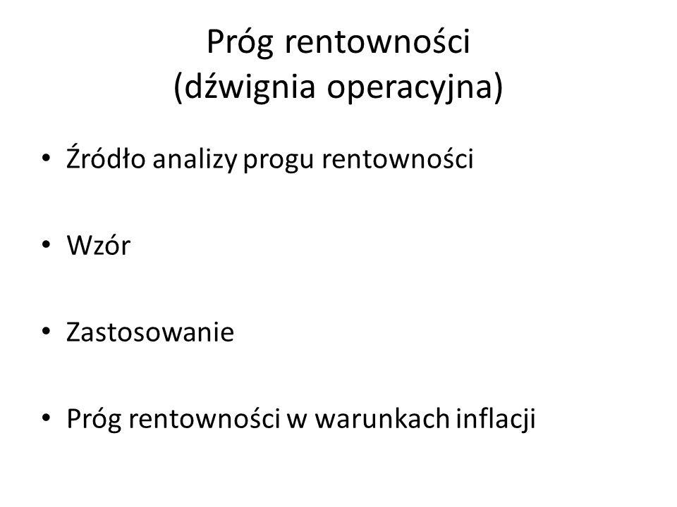 Próg rentowności (dźwignia operacyjna) Źródło analizy progu rentowności Wzór Zastosowanie Próg rentowności w warunkach inflacji