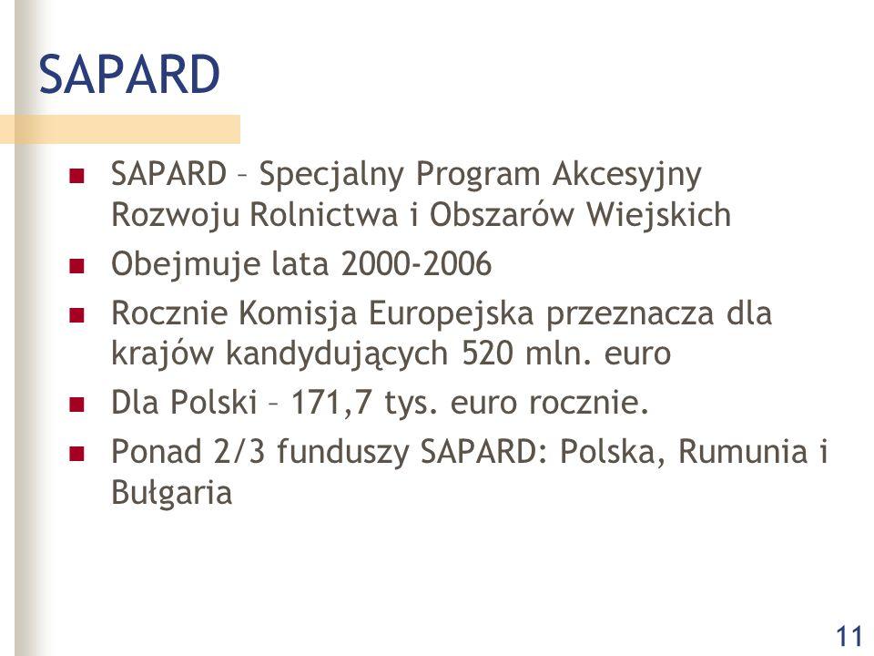 11 SAPARD SAPARD – Specjalny Program Akcesyjny Rozwoju Rolnictwa i Obszarów Wiejskich Obejmuje lata 2000-2006 Rocznie Komisja Europejska przeznacza dla krajów kandydujących 520 mln.