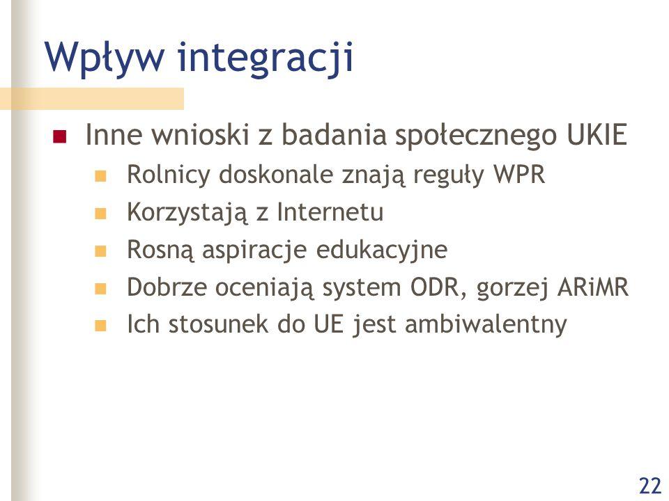 22 Wpływ integracji Inne wnioski z badania społecznego UKIE Rolnicy doskonale znają reguły WPR Korzystają z Internetu Rosną aspiracje edukacyjne Dobrze oceniają system ODR, gorzej ARiMR Ich stosunek do UE jest ambiwalentny