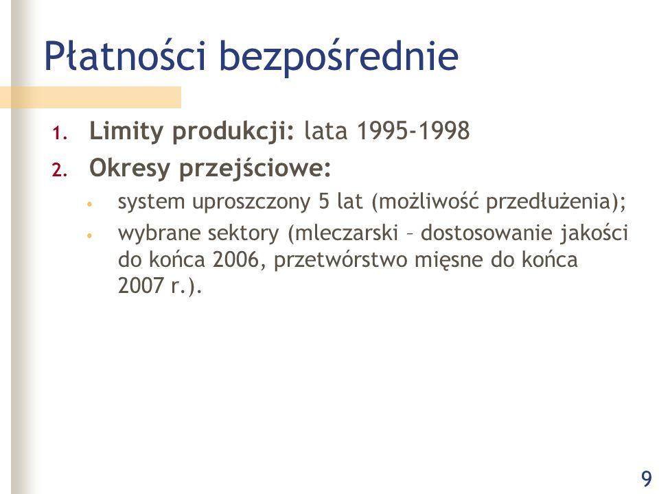 9 Płatności bezpośrednie 1. Limity produkcji: lata 1995-1998 2. Okresy przejściowe: system uproszczony 5 lat (możliwość przedłużenia); wybrane sektory
