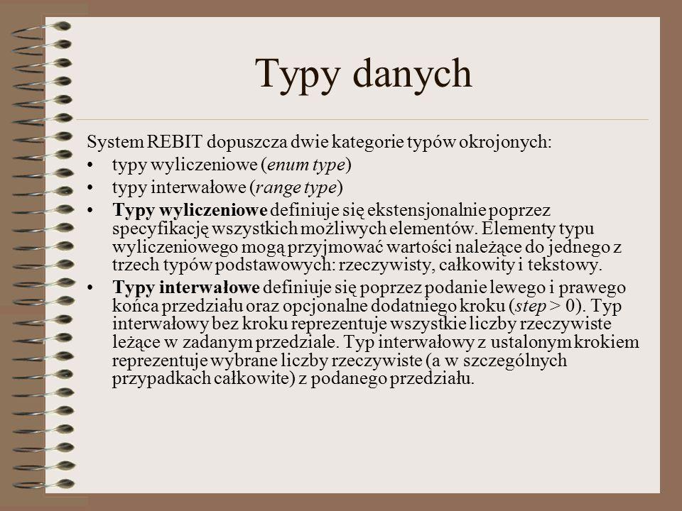 Typy danych System REBIT dopuszcza dwie kategorie typów okrojonych: typy wyliczeniowe (enum type) typy interwałowe (range type) Typy wyliczeniowe definiuje się ekstensjonalnie poprzez specyfikację wszystkich możliwych elementów.
