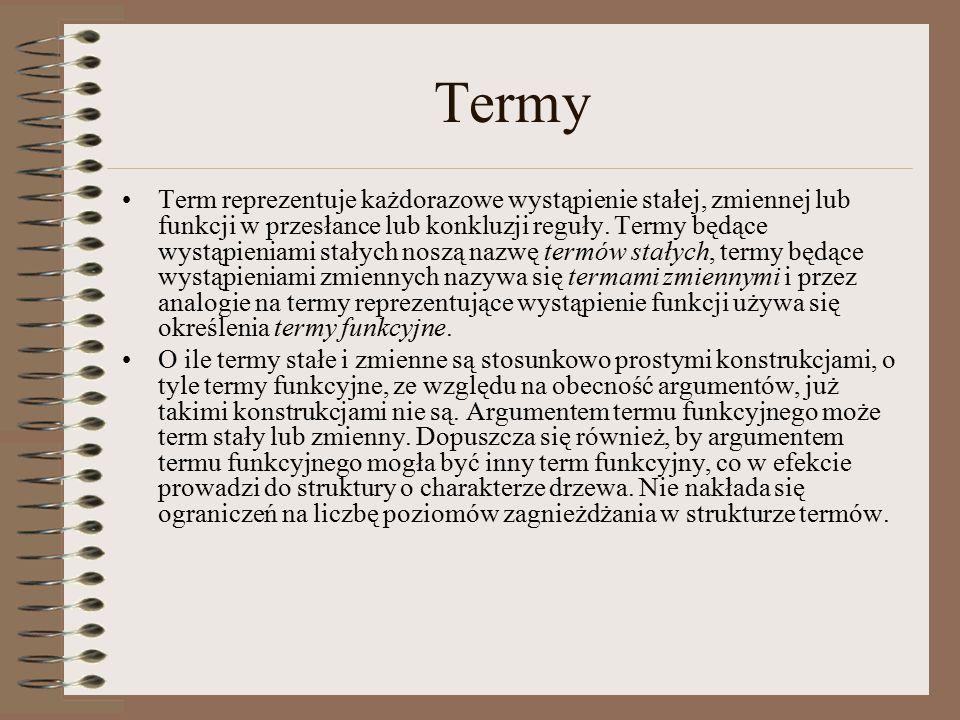 Termy Term reprezentuje każdorazowe wystąpienie stałej, zmiennej lub funkcji w przesłance lub konkluzji reguły.