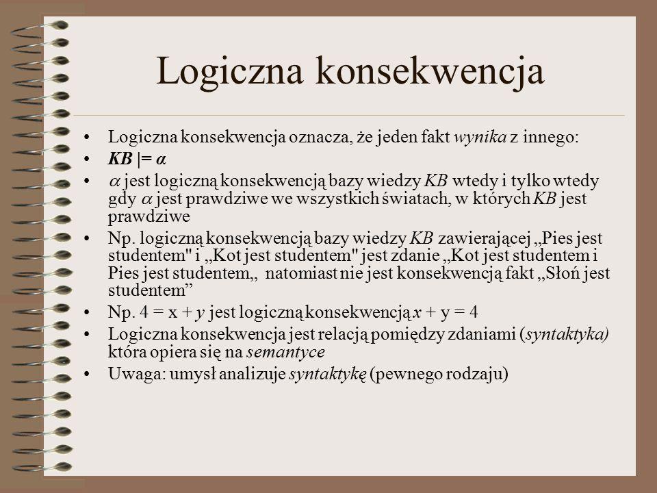 Logiczna konsekwencja Logiczna konsekwencja oznacza, że jeden fakt wynika z innego: KB |= α  jest logiczną konsekwencją bazy wiedzy KB wtedy i tylko wtedy gdy  jest prawdziwe we wszystkich światach, w których KB jest prawdziwe Np.
