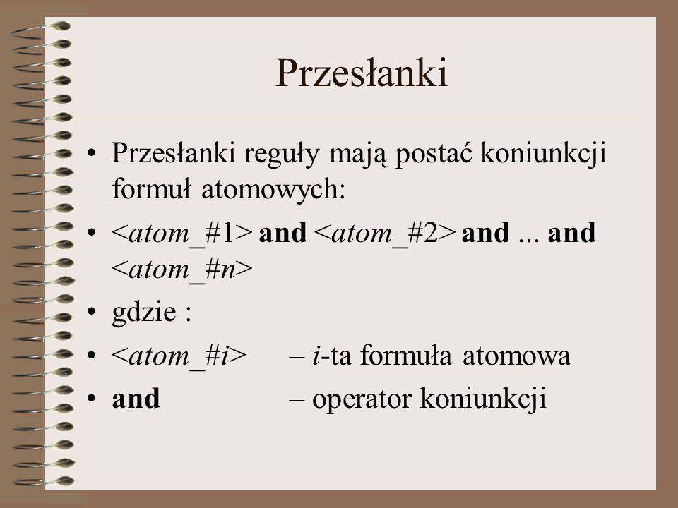 Przesłanki Przesłanki reguły mają postać koniunkcji formuł atomowych: and and...