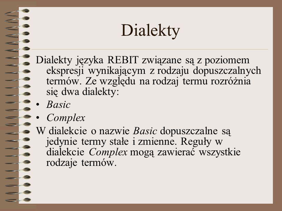 Dialekty Dialekty języka REBIT związane są z poziomem ekspresji wynikającym z rodzaju dopuszczalnych termów.