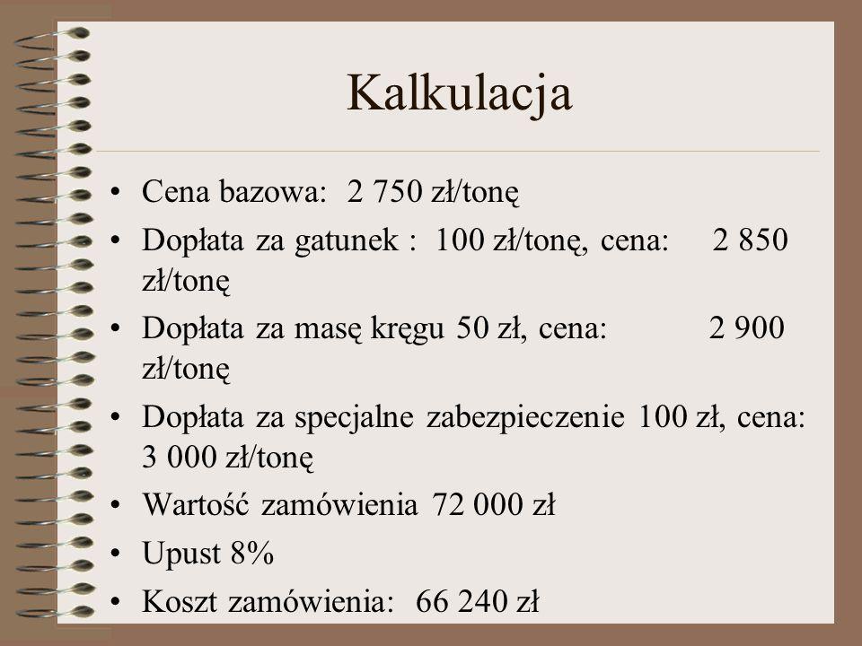 Kalkulacja Cena bazowa: 2 750 zł/tonę Dopłata za gatunek : 100 zł/tonę, cena: 2 850 zł/tonę Dopłata za masę kręgu 50 zł, cena: 2 900 zł/tonę Dopłata za specjalne zabezpieczenie 100 zł, cena: 3 000 zł/tonę Wartość zamówienia 72 000 zł Upust 8% Koszt zamówienia: 66 240 zł