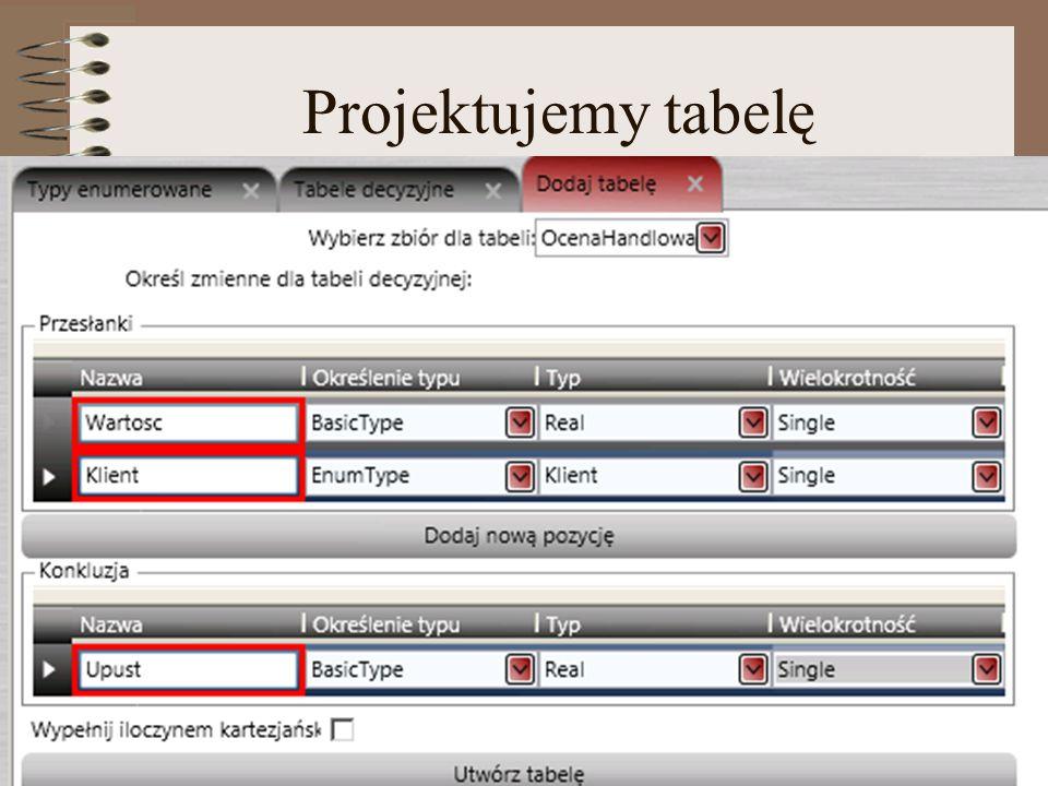 Projektujemy tabelę