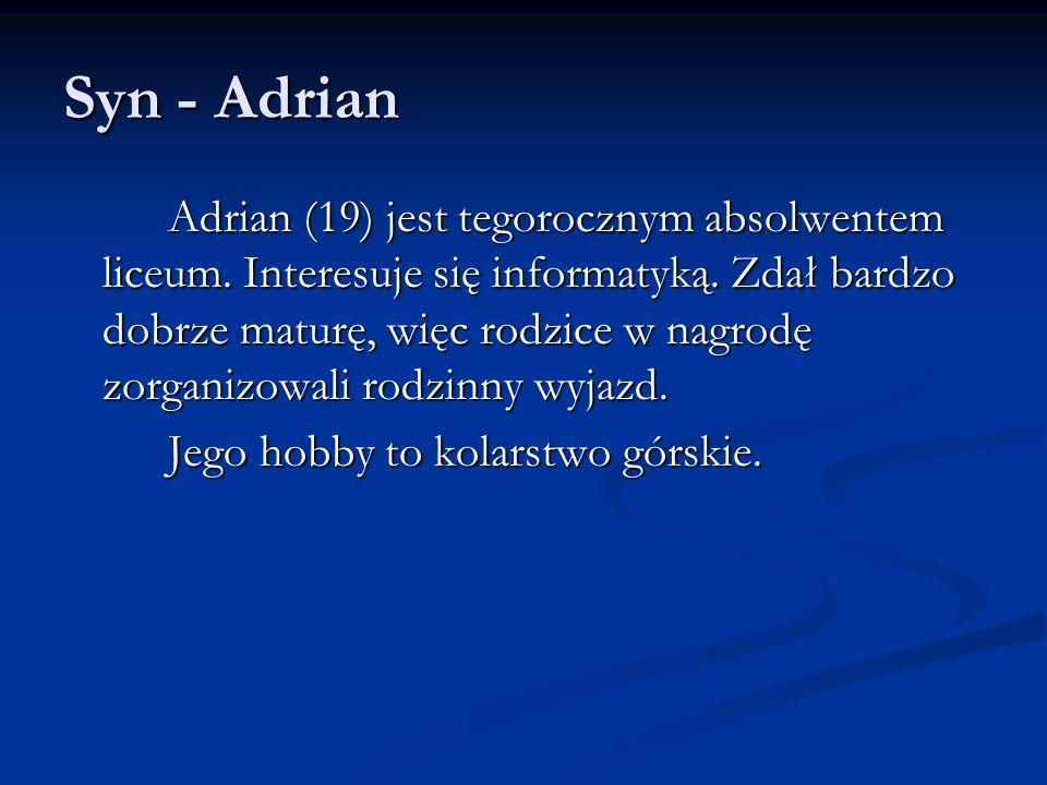 Syn - Adrian Adrian (19) jest tegorocznym absolwentem liceum.