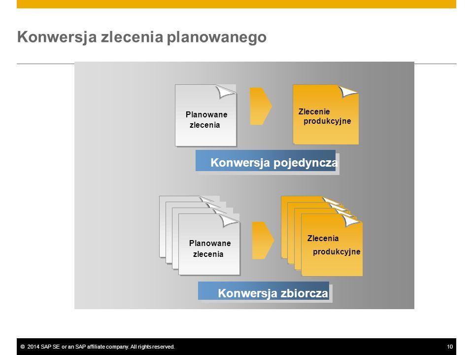 ©2014 SAP SE or an SAP affiliate company. All rights reserved.10 Przekształcenie pojedyncze Konwersja pojedyncza Planowane zlecenia Zlecenia produkcyj