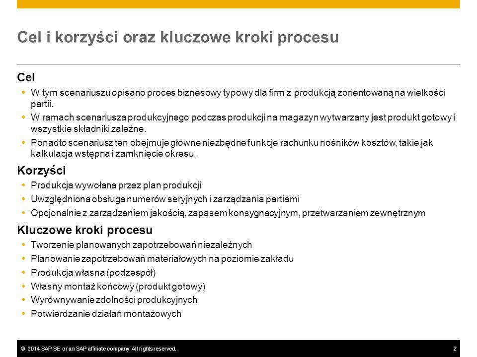 ©2014 SAP SE or an SAP affiliate company. All rights reserved.2 Cel i korzyści oraz kluczowe kroki procesu Cel  W tym scenariuszu opisano proces bizn