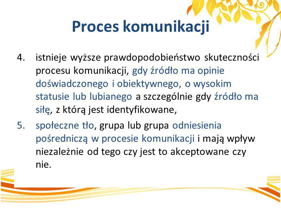 Proces komunikacji 4.istnieje wyższe prawdopodobieństwo skuteczności procesu komunikacji, gdy źródło ma opinie doświadczonego i obiektywnego, o wysoki