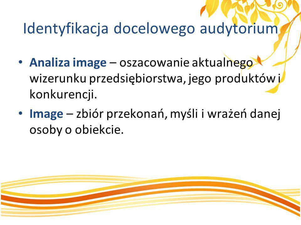 Identyfikacja docelowego audytorium Analiza image – oszacowanie aktualnego wizerunku przedsiębiorstwa, jego produktów i konkurencji. Image – zbiór prz