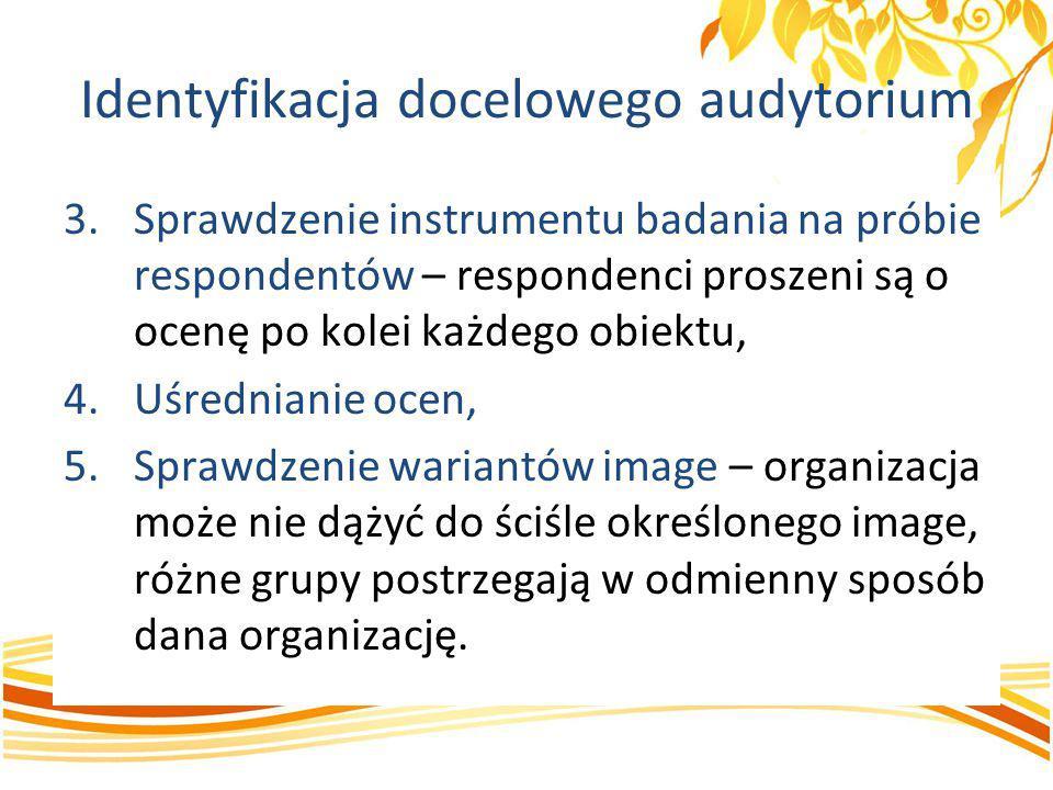 Identyfikacja docelowego audytorium 3.Sprawdzenie instrumentu badania na próbie respondentów – respondenci proszeni są o ocenę po kolei każdego obiekt
