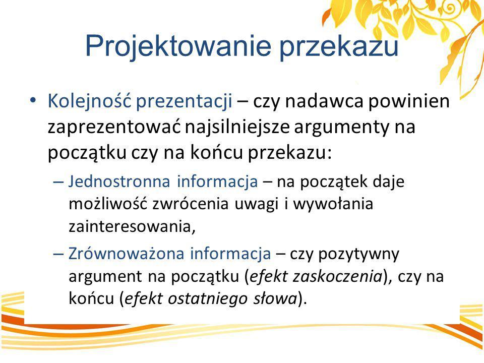 Projektowanie przekazu Kolejność prezentacji – czy nadawca powinien zaprezentować najsilniejsze argumenty na początku czy na końcu przekazu: – Jednost