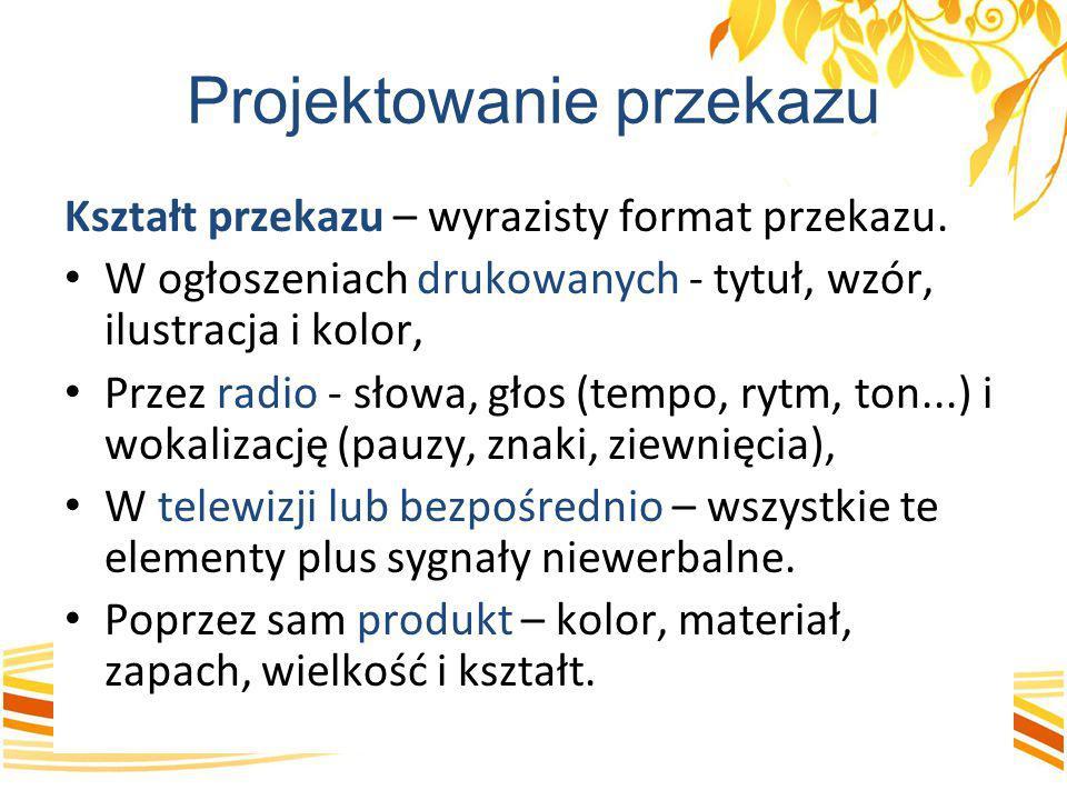 Projektowanie przekazu Kształt przekazu – wyrazisty format przekazu. W ogłoszeniach drukowanych - tytuł, wzór, ilustracja i kolor, Przez radio - słowa