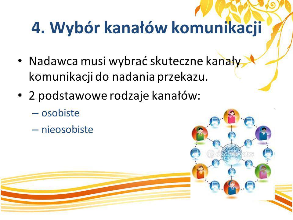 4. Wybór kanałów komunikacji Nadawca musi wybrać skuteczne kanały komunikacji do nadania przekazu. 2 podstawowe rodzaje kanałów: – osobiste – nieosobi